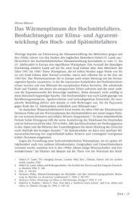 Das Wärmeoptimum des Hochmittelalters. Beobachtungen zur Klima- und Agrarentwicklung des Hoch- und Spätmittelalters