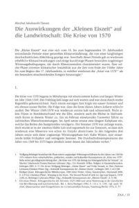 """Die Auswirkungen der """"Kleinen Eiszeit"""" auf die Landwirt- schaft: Die Krise von 1570"""