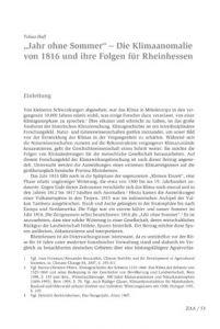 """""""Jahr ohne Sommer"""" – Die Klimaanomalie von 1816 und ihre Folgen für Rheinhessen"""