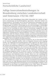 Fortschrittliche Landwirte? Adlige Innovationsbestrebungen in Brandenburg zwischen Landesherrschaft und Untertanen 1763 bis 1807