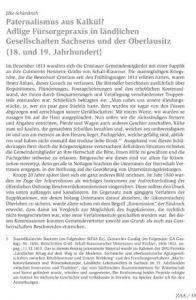 Paternalismus aus Kalkül? Adlige Fürsorgepraxis in ländlichen Gesellschaften Sachsens und der Oberlausitz (18. und 19. Jahrhundert)