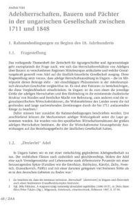 Adelsherrschaften, Bauern und Pächter in der ungarischen Gesellschaft zwischen 1711 und 1848