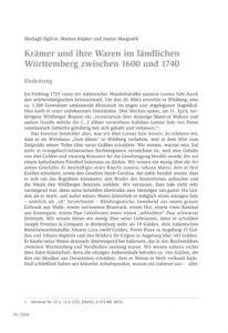Krämer und ihre Waren im ländlichen Württemberg zwischen 1600 und 1740