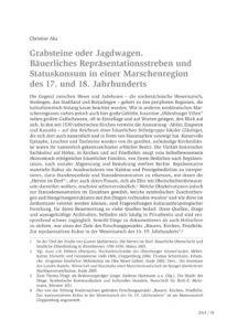 Grabsteine oder Jagdwagen. Bäuerliches Repräsentationsstreben und Statuskonsum in einer Marschenregion des 17. und 18. Jahrhunderts