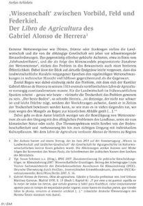 'Wissenschaft' zwischen Vorbild, Feld und Federkiel. Der Libro de Agricultura des Gabriel Alonso de Herrera