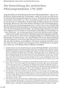 Die Entwicklung der sächsischen Pflanzenproduktion 1791-2010