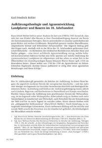 Aufklärungstheologie und Agrarentwicklung. Landpfarrer und Bauern im 18. Jahrhundert