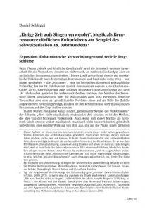 """""""Einige Zeit aufs Singen verwendet"""". Musik als Kernressource dörflichen Kulturlebens am Beispiel des schweizerischen 18. Jahrhunderts"""