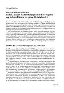 Lieder für den Landmann. Kultur-, medien- und bildungsgeschichtliche Aspekte der Volksaufklärung im späten 18. Jahrhundert