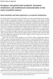European and global food standards. Economic institutions and multilateral communication in the early twentieth century