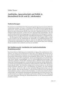 Antibiotika, Agrarwirtschaft und Politik in Deutschland im 20. und 21. Jahrhundert