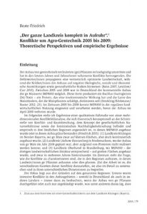 """""""Der ganze Landkreis komplett in Aufruhr"""".1 Konflikte um Agro-Gentechnik 2005 bis 2009: Theoretische Perspektiven und empirische Ergebnisse"""