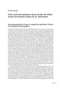 Stadt, Land und suburbaner Raum als Orte des Widerstands: Das britische Empire im 18. Jahrhundert
