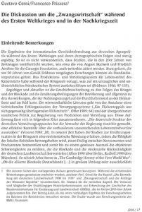 """Die Diskussion um die """"Zwangswirtschaft"""" während des Ersten Weltkrieges und in der Nachkriegszeit"""