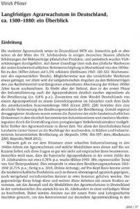 Langfristiges Agrarwachstum in Deutschland, ca. 1500–1880: ein Überblick